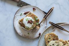 Local Milk | bacon & scallion griddle cakes with maple creme fraiche