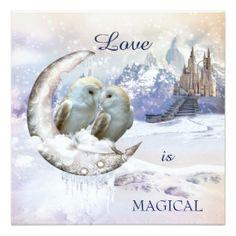 Owls in winter wonderland wedding invitation