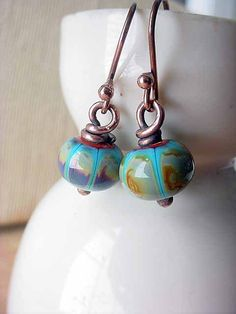 Turquoise and Copper Earrings Lampwork Glass Dangles Wire Wrapped Rustic Tribal Southwest Gift Box