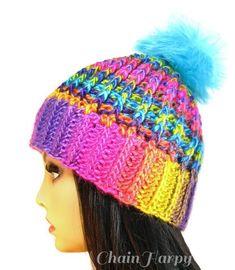 58dc0ef8b2c5d Unicorn Puff Artisan Crochet Beanie w  Faux Fur PomPom - Adult - Fits up to  22