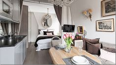 A Paris studio apartment redo by Huff Harrington.