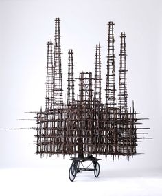 "Gerry Judah, 'Power Station', 2013, from the ""Bengal"" series, wood, brass, copper, steel 195 x 200 x 80 cm. Image courtesy the artist and Encounter Contemporary."