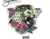 Lion broche originale lion et rose message anglais façon tatoo-nouvelle collection-coup de coeur spécial saint valentin : Broche par ehz