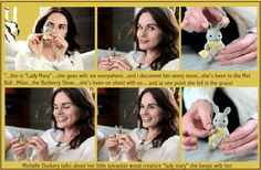 """Michelle Dockery talks about her little Sylvanian Woodland Creature....""""Lady Mary"""" that she takes with her everywhere!! TOOOOO CUTE!!! http://www.helloretailers.com/blog/the-look-downton-abbeys-michelle-dockery-talks-fashion/"""