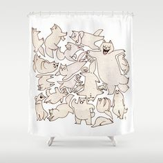 Kitteh+(Wonderful+Mess+Series)+Shower+Curtain+by+Dan+Paul+Roberts+-+$68.00
