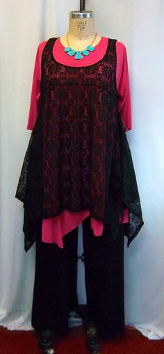 Coco and Juan Plus Size Top Lagenlook Layering Tunic Top Black Lace Size 1 Fits 1X,2X  Bust to 50 inches  Me? I'll wear it over black, charcoal, or deepest, darkest red. Or even , my deep forest green velour dress!
