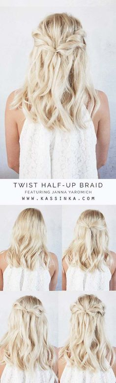 Short Hair Styles You Can Do In 10 Minutes or Less - Twist Half-up Braid - Easy Step By Step Tutorials For Growing Out Your Hair, For Shoulder Length Hair, For The Undo, The Pixie, For Round Faces, The Bob, For Women That Are White And African American. For Over 50, For Over 40, For Wedding, And With Bangs - https://thegoddess.com/quick-short-hair-styles #HairstylesForWomenWithRoundFaces