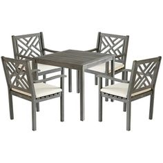 Shop for Safavieh Outdoor Living Bradbury Ash Grey Acacia Wood 5-piece Beige Cushion Dining Set. Get free delivery at Overstock.com - Your Online Garden