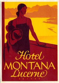 Hotel Montana Lucerne Switzerland Luggage Label