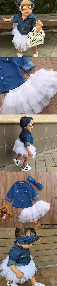 Arabella Denim Top / Tutu Skirt Set Omg I can't wait to dress Kinsley like this ❤️❤️ - Unique Baby Outfits Baby Outfits, Outfits Niños, Lila Baby, My Baby Girl, Baby Boys, Baby Girl Fashion, Kids Fashion, Toddler Fashion, Trendy Fashion