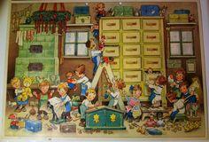 Alter Adventskalender Fritz Baumgarten Kinder in der Weihnachtswerkstadt selten