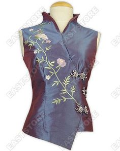 Vine Embroidered Sleeveless Blouse : EastStore.com