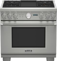 Thermador PRD364JDGU 36 Inch Pro-Style Dual-Fuel Range with 4 Sealed Star Burners, 5.7 cu. ft. True Convection Oven, Electric Griddle, 22,000 BTU Power Burner, ExtraLow Simmer Burners, Telescopic Racks and Self-Cleaning Mode