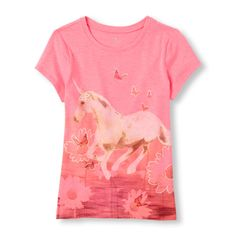 Image for Girls Short Sleeve Unicorn Butterflies Graphic Tee from The Children's Place