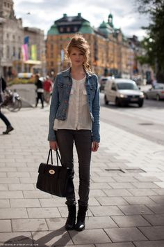 Denim jackets back in?  Love the denim jacket with combat boots look!