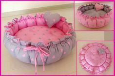 DIY :: What a cute pet bed! Diy Dog Bed, Diy Stuffed Animals, Pet Beds, Baby Crafts, Pet Clothes, Dog Accessories, Baby Sewing, Sewing Projects, Diy Projects