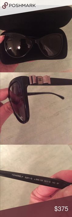 Polarized Chanel 5282Q sunglasses Bought in April 2017, black polarized sunglasses. EUC, no scratches on the lenses. Bows on the side have Chanel logo. Can't return to Sunglasses Hut since it's been over 90 days - I just don't wear them often. Comes with case, unopened cleaning cloth, fabric carrying pouch, original box and manuals. CHANEL Accessories Sunglasses