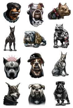 Inked Dogs-Tough looking tattooed dogs, pit bulls and rottweilers, | Tatt Me Temporary Tattoos