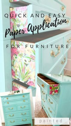 and Easy Paper Application For Furniture Super quick and easy way to attach paper to furniture! Step by step tutorial PLUS a how-to video!Super quick and easy way to attach paper to furniture! Step by step tutorial PLUS a how-to video! Paper Furniture, Furniture Projects, Furniture Making, Furniture Decor, Home Projects, Furniture Plans, Craft Projects, Furniture Assembly, Furniture Stores