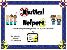 Classroom Helper Jobs ~ Nautical Theme