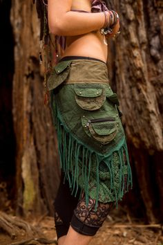 Patchwork Pocket Skirt (Green) - Sexy Fairy Hippie Boho Goa Festival Gypsy Bohemian Skirt with Pocket