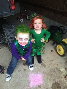 diy toddler poison ivy and the joker halloween 2015 - Joker Halloween Costume Kids