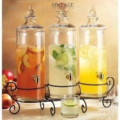 Beverage dispensers that will make your hydration station look like wedding art. Use it for water to jazz it up. If you're serving tea or lemonade, this will look gorgeous. Good idea for us since we won't be serving alcohol: water, lemonade, sweet tea. Party Drinks, Tea Party, Cocktails, Holiday Drinks, Reception Food, Wedding Reception, Summer Wedding, Wedding Programs, Wedding Invitations