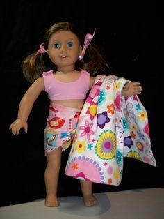 """Bikini, Sarong & Towel for 18"""" Doll"""