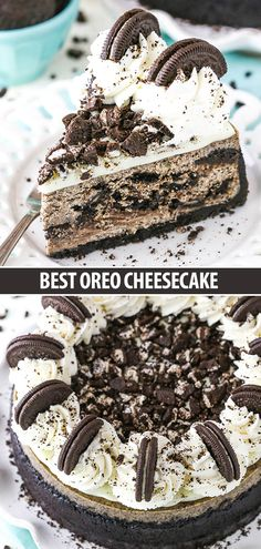 This is hands down the BEST Oreo Cheesecake! An easy recipe that makes a creamy cheesecake filled with cookies and cream! The Oreo crust is to die for! Desserts The BEST Oreo Cheesecake Recipe Oreo Torta, Oreo Cake, Oreo Cheese Cakes, The Best Oreo Cheesecake Recipe, Strawberry Cheesecake, Oreo Cheesecake Cupcakes, Cheesecake Decoration, Cookies And Cream Cheesecake, Desert Recipes