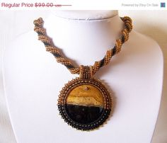 SALE Beadwork Bead Embroidery Pendant Necklace with Coconut Root Fossil Stone - BLACK GOLD - Fall Fashion - black - brown - gold