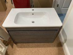 Villeroy & Boch Wall Hung Vanity Sink Unit Graphite Oak 800mm Wide 1 Drawer New · $395.00 Oak Vanity Unit, Cloakroom Vanity Unit, Vanity Sink, Sink Units, Wall Hung Vanity, Grey Oak, Graphite, Drawers, The Unit