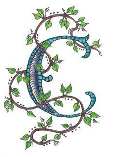 Zentangle inspirado monograma carta nota tarjeta por Leopardtude
