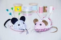 Nähanleitung und kostenloses Schnittmuster für ein Nadelkissen Maus