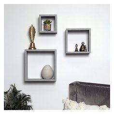 Distressed Gray Floating Box Shelves, Set of 3 : Wood Cube Wall Shelf, Wall Cubes, Box Shelves, Small Shelves, Wall Storage, Display Shelves, Ledge Shelf, Grey Shelves, Square Floating Shelves