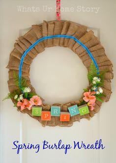 Burlap Spring wreath, pastel Spring wreath