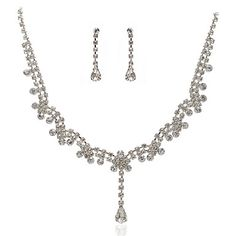 High Quality Czech Rhinestones With Alloy Plated Wedding Jewelry Set,Including Necklace And Earrings – USD $ 19.99