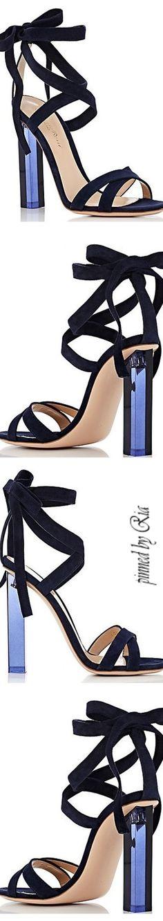Gianvito Rossi Suede Ankle Tie Sandals l Ria