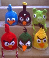 angry bird hats knitted. love them... so much fun for www.patpatshats.com