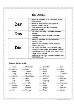 Artikel Arbeitsblatt - Kostenlose DAF Arbeitsblätter