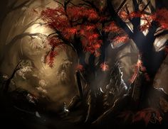 A beautiful yet eerie scene as the light trickles through into the forest. Heart Projects, Environment Concept, Concept Art, Gaming, Scene, Painting, Beautiful, Conceptual Art, Videogames