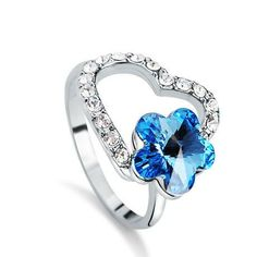 blue crystal heart and flower cheap unique engagement ring