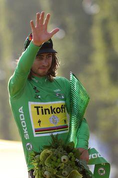 Peter Sagan celebrates his green jersey Tour de France 2016 / AFP