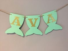 Mermaid Name Banner, baby shower, first birthday, mermaid party, under the sea, mermaid banner, MINT AND GOLD #BabyGames