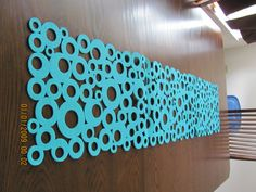 Turquoise felt modern table runner circles by AniasJewelry on Etsy, $90.00