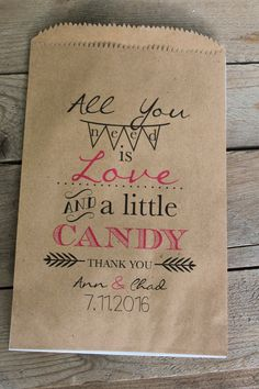 Wedding Favor Bags-All You Need Is Love-Candy Buffet