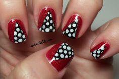 Cute red & polka dot nails