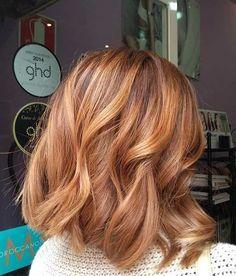 Trends Bob Frisuren -Copper Shoulder Length Bob Haircut – Hair is art Brown Blonde Hair, Wavy Hair, Copper Blonde Balayage, Auburn Blonde Hair, Red Bob Hair, Wavy Lob, Short Blonde, Thin Hair, Medium Hair Styles