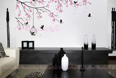 Items similar to Tree wall Decal Wall Sticker Baby Nursery Decals,Floral Tree branch with birds, Birdcage-Cherry Blossoms Tree on Etsy Wall Decal Sticker, Wall Stickers, Vinyl Decals, Nursery Decals Girl, Cherry Blossom Tree, Cherry Tree, Tree Decals, Tree Wall, My New Room