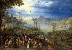Jan Brueghel the Elder : Fish market on the banks of a river (Alte Pinakothek) 1568-1625 ヤン・ブリューゲル (父)