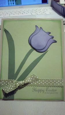 Easter Tulip Card made with Stampin' Up! Owl Punch! :)